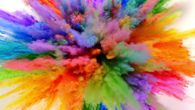 multi colored radial shaped powder exploding towards camera at the same time in close up and super slow-motion, white background - カラフル点の映像素材/bロール