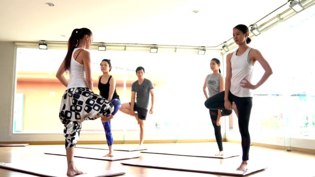 multi ethnic people practicing yoga class lead by yoga master - wellbeing stock videos & royalty-free footage