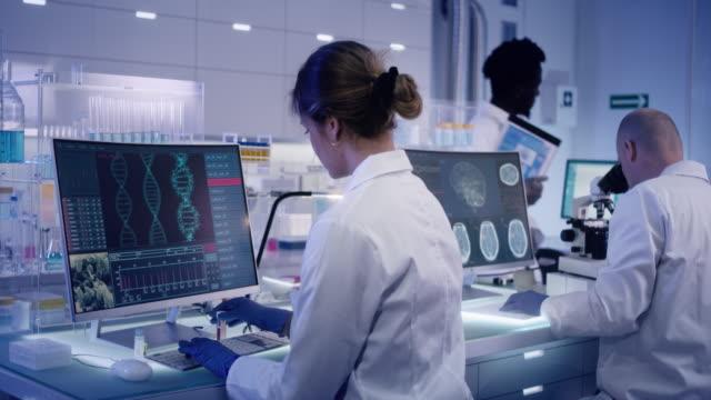 vidéos et rushes de équipe de recherche multiethnique étudiant les mutations de l'adn - recherche génétique