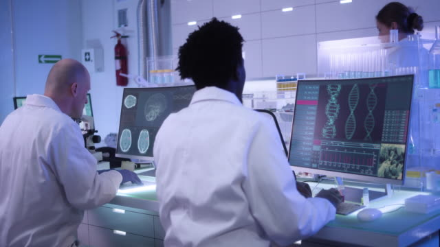 multi ethnic research team studying dna mutations - cerebrum stock videos & royalty-free footage