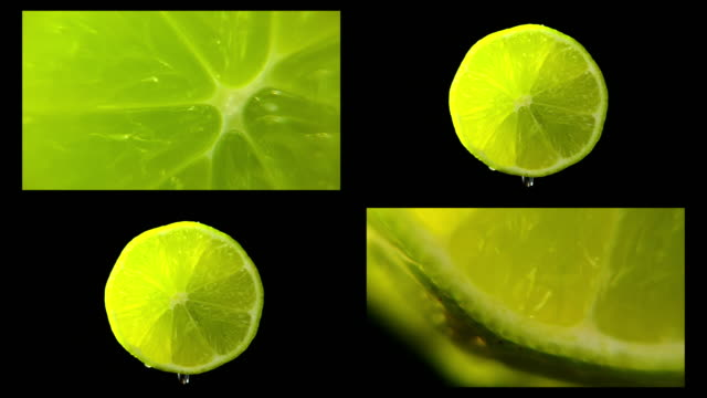 multi frame lime rotating with black background - lime stock videos & royalty-free footage
