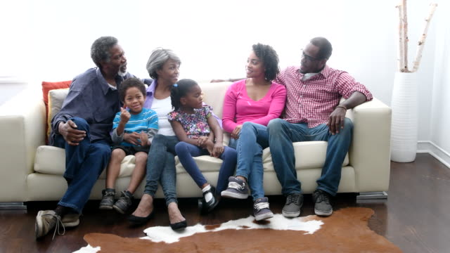 multi generation africna american family on sofa, smiling towards camera - sitting stock videos & royalty-free footage