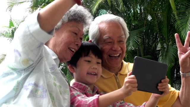 multi generation selfie hong kong - grandparent stock videos & royalty-free footage