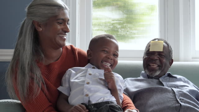 multi generational african american family on sofa, close up - messing about stock videos & royalty-free footage