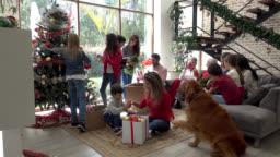 Multi generational family decorating the christmas tree all having fun