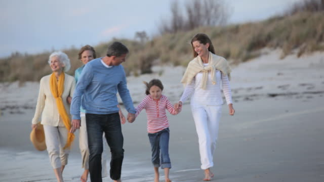 vidéos et rushes de ws ts multi generational family walking along beach together / eastville, virginia, usa - famille multi générations