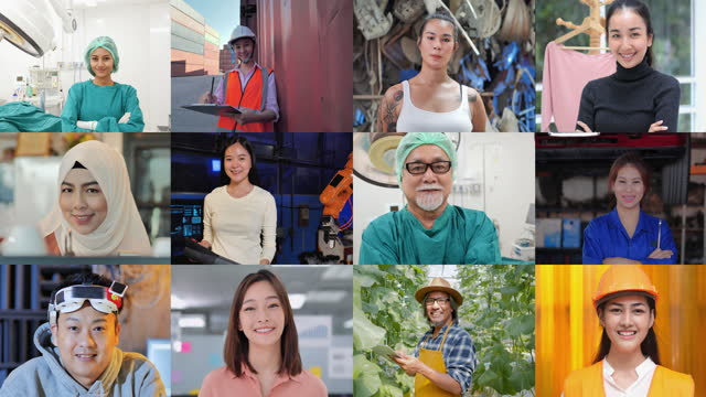 multi screen on smiling of diverse asian people of pride in work looking at web cameras.pride in work concept. - chance stock videos & royalty-free footage