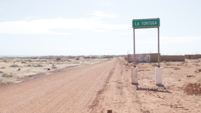 Multiclip of the sandy desert like landscape with the street sign saying Tortuga in Tortuga Peru