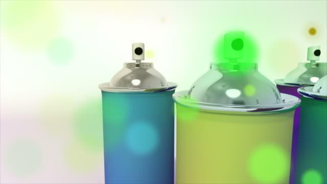 multicolor cans of spray paint - sn�� bildbanksvideor och videomaterial från bakom kulisserna