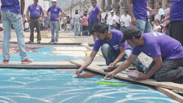 Multicolor carpet for Lent / Easter celebration made by young people at Antigua Guatemala