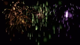 Multicolor Defocused Sparkling Fireworks Display with Reveal, Loop and Matte