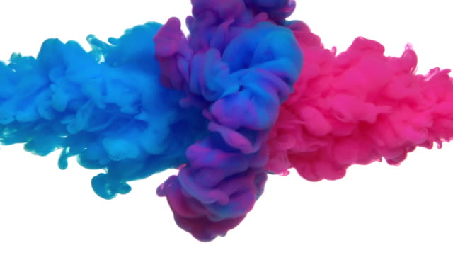 vídeos de stock e filmes b-roll de slow-mo: multicolor liquid flow - fundo branco