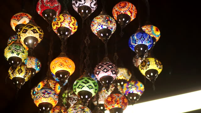 multicolored arabic mosaic glass lamps in the hotel. - art and craft stock videos & royalty-free footage