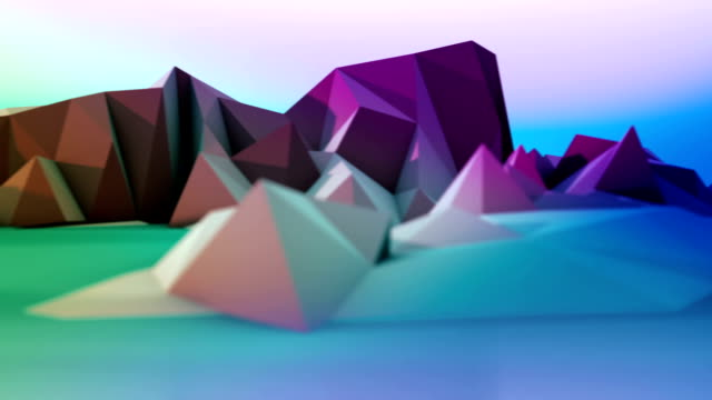 multicolored cartoon mountains loopable panorama - folded stock videos and b-roll footage