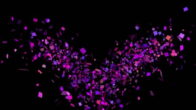 vidéos et rushes de explosions de confettis multicolores dans un canal alpha - transparent
