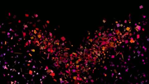 vídeos y material grabado en eventos de stock de explosiones de confeti multicolor en canal alfa - transparent