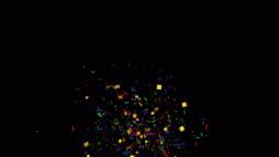 Multicolored Confetti Explosions with Alpha Channel