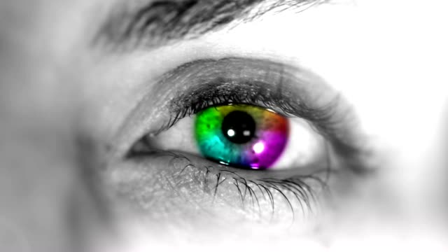 multicolored eye. hd - black and white stock videos & royalty-free footage
