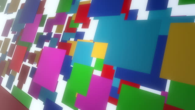 Multi-Colored Flying 3D Rectangles In Empty Space