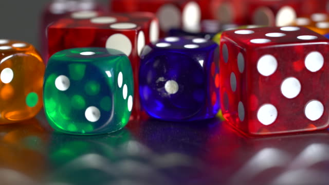 gambling multicolor dices - number 4 stock videos & royalty-free footage