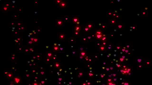 Multicolored hearts loopable background footage