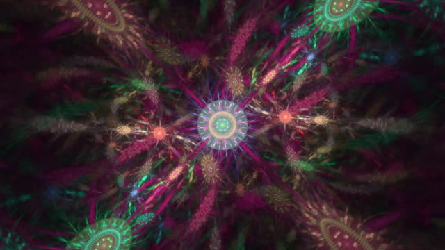 multi-colored high resolution fractal video which patterns remind those of plants in the wind. - floral pattern stock videos & royalty-free footage