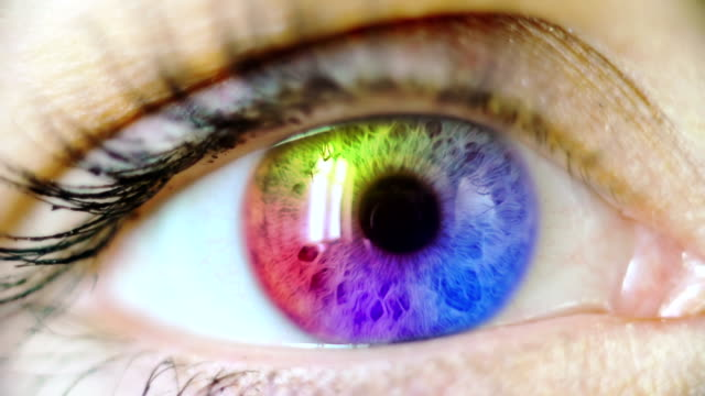 stockvideo's en b-roll-footage met multicolored human eye - focus
