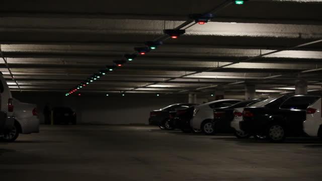 Multicolored Lights In Public Parking Garage