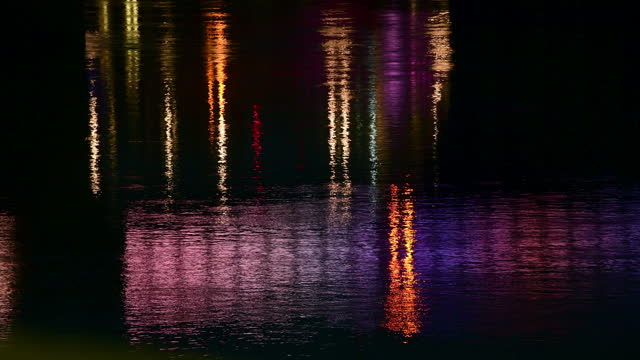 multicolored reflections in river thames surface at night - river thames stock videos & royalty-free footage