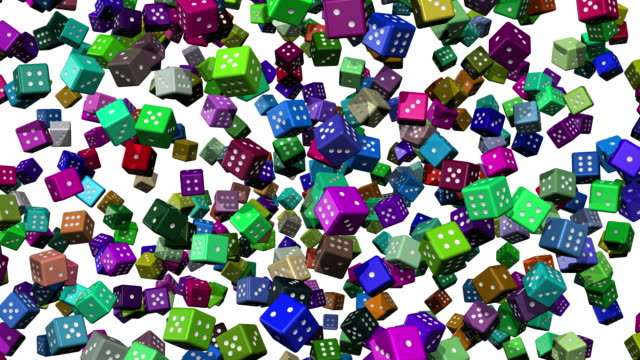 Multicoloured Falling Dice