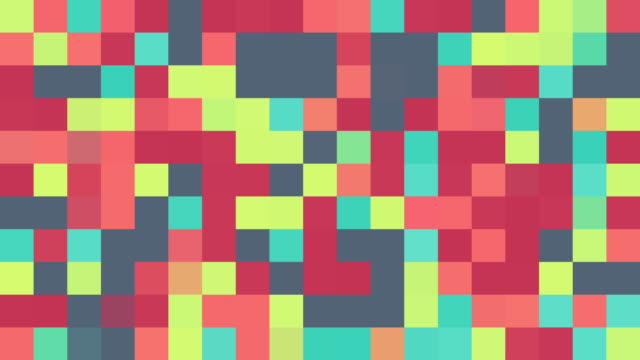 multicoloured squares | turquoise, pink, red, blue, green, purple, orange and yellow | colours change with random generative flicker effect - pixellerad bildbanksvideor och videomaterial från bakom kulisserna
