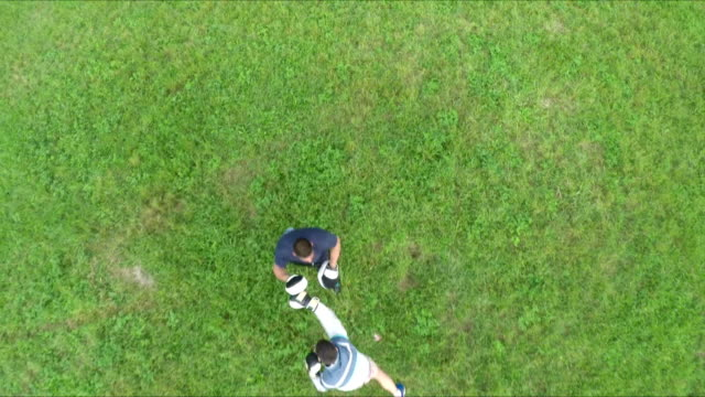 multicopter aerial shot of outdoor boxing training - multicopter stock videos & royalty-free footage