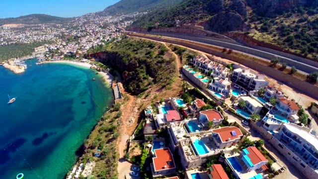 multicopter view of kalkan mediterranean town - multicopter stock videos & royalty-free footage