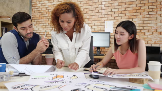 multiethnic business team young people brainstorm corporate meeting, employees group new marketing planing - making money stock videos & royalty-free footage