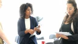 Multi-ethnic businesswomen planning over start up