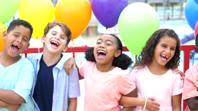multi-ethnic children at birthday party standing in row - 8 9 years stock videos & royalty-free footage
