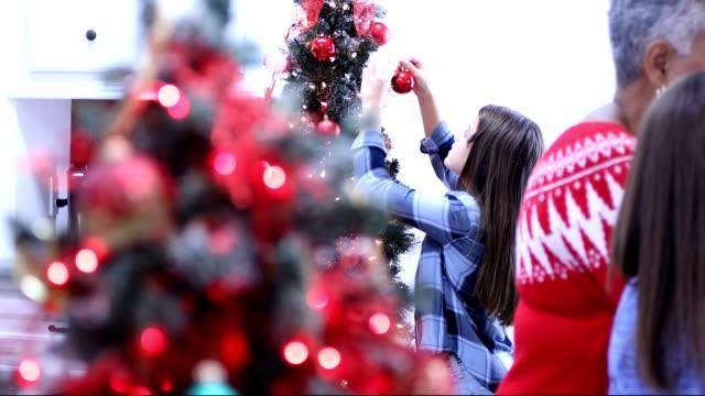 vídeos de stock, filmes e b-roll de família multi-étnica na casa cozinha preparando o jantar de natal. - enfeitar a árvore de natal