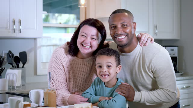 multi-ethnic family with little boy in kitchen, smiling - 4 5 years stock videos & royalty-free footage