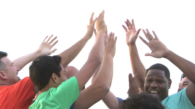 multi-ethnic fathers and sons, high-fives - high five stock videos & royalty-free footage