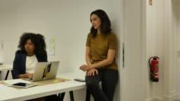 Multi-ethnic female professionals sitting at desk