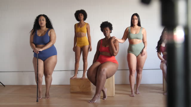 multi-ethnic females in posing lingerie - overweight stock videos & royalty-free footage
