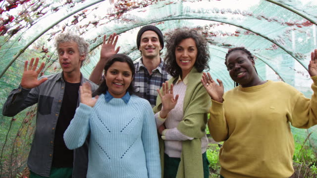 multi-ethnic group of gardeners waving at camera - five people stock videos & royalty-free footage