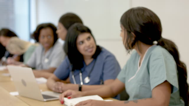 multi-ethnic group of nursing students in class - female doctor stock videos & royalty-free footage