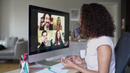Multi-ethnic group of people in a video conference