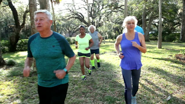 Multi-ethnic group of seniors running in park