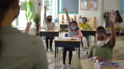 Multi-ethnic group of students wearing masks in class
