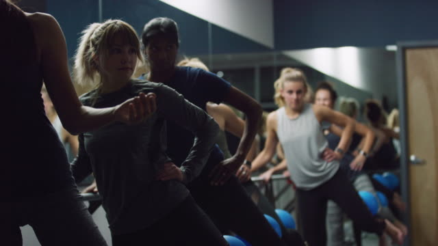 a multi-ethnic group of women in their twenties perform leg exercises with fitness balls in a class at an exercise studio - barre stock videos & royalty-free footage