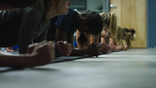 a multi-ethnic group of women in their twenties perform push-ups and planks in an exercise studio - plank stock videos & royalty-free footage
