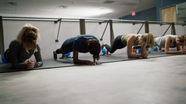 a multi-ethnic group of women in their twenties practice pulsing in the plank position on the floor of a barre exercise studio - barre fitness stock videos and b-roll footage