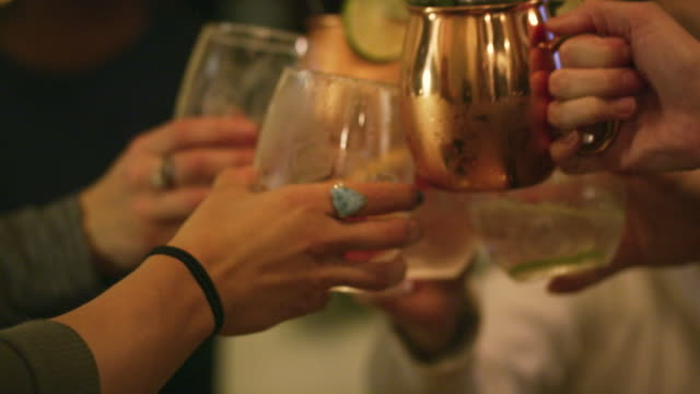 a multi-ethnic group of women in their twenties toast their drinks in a cozy indoor setting - happy hour video stock e b–roll
